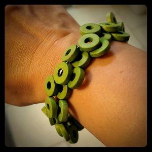 Green Wire & Wood Wrap Bracelet